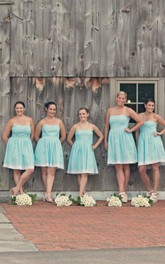 Strapless short A-line Knee-length Bridesmaid Dress
