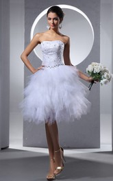 Crystal Ruffles Midi Strapless Dress
