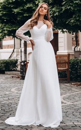 A Line Bateau Chiffon Floor-length Long Sleeve Button Wedding Dress