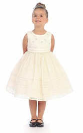 Tiered Ribbon Pleated Tea-Length Lace Flower Girl Dress