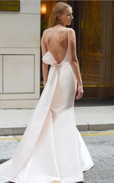 Sexy Satin Bateau-neck Open Back Trumpet Sash Wedding Dress