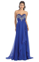 A-Line Backless Draping Jeweled Sweetheart Strapless High-Waist Sleeveless Chiffon Dress