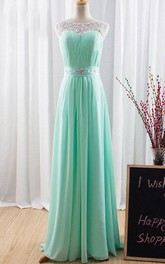 Scoop-neck Sleeveless Ruched Chiffon Dress With Beading And Corset Back