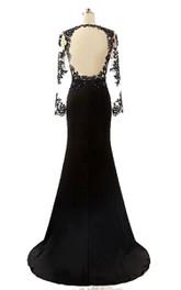 Bateau Illusion Long Sleeve Jersey Sheath Dress With Keyhole back