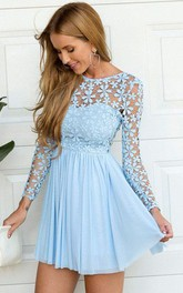 Long Sleeve A-line Short Mini Jewel Pleats Ruching Chiffon Lace Homecoming Dress