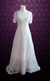 A-Line Short Sleeves Scoop-Neckline Modest Lace Dress
