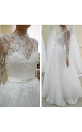 Tulle Satin Ribbon Rhinestone Long-Sleeve Illusion Ball Gown