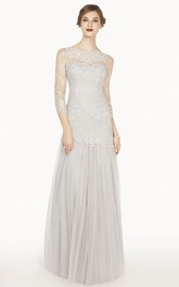 Bateau Illusion 3-4-sleeve Tulle Dress With Appliques And Ruching
