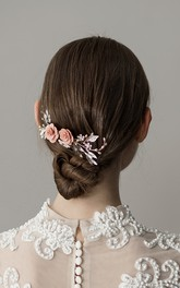 Forest Style Chic Rhinestone Hair Combs with Flowers