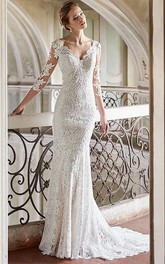 Sheath V-neck 3-4-sleeve Backless Lace Wedding Dress With Sweep Train