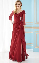 V-neck Chiffon Illusion Long Sleeve Dress With Draping And Split Front