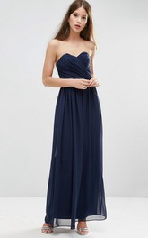 A-Line Sleeveless Sweetheart Criss-Cross Floor-Length Chiffon Bridesmaid Dress With Pleats
