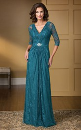 V-neck Half Sleeve Illusion Long Lace mother of the bride Dress