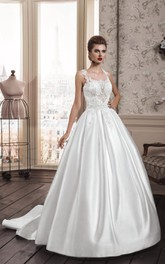 Scoop-neck Sleeveless A-line Satin Wedding Dress With Appliques And Illusion