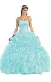 Sweetheart Jeweled Ruffled Strapless Sleeveless Lace-Up Organza Ball Gown