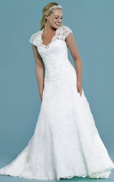 Cap-sleeve Lace Appliqued long Wedding Dress