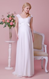 Cap-Sleeved Bow Chiffon Empire Graceful Allover Gown