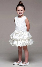 Bowknot Ribbon Satin Layered Midi Lace Flower Girl Dress