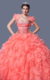 Ruffled Skirt Flattering Look Stylish Formal Flowing Gown