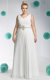 Chiffon V-neck Sleeveless Ruched plus size wedding dress With Embellished Waist