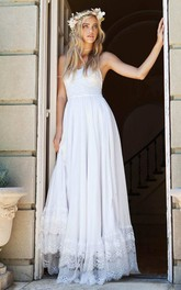 Elegant Spaghetti Strap Floor Length Chiffon Lace Wedding Dress
