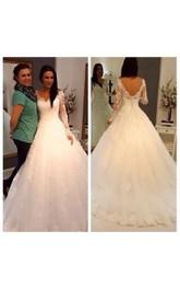 Lace Long Sleeve V-Back V-Neckline Gorgeous Princess Ball Gown