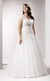 Short Sleeve V-neck Lace A-line Tulle plus size wedding dress With Appliques