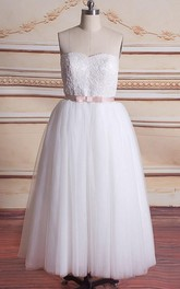 Strapless Tulle A-line short Wedding Dress With Appliques And bow