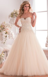 Sweetheart A-line Tulle Ball Gown With Beading And Court Train