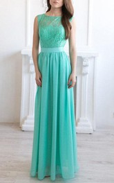 Bateau Sleeveless Floor-length Bridesmaid Dress With Lace top