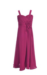 Strapped Chiffon Ruched short Dress With Flower And Zipper
