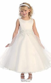 Bell-Sleeve Tea-Length Floral Lace Flower Girl Dress