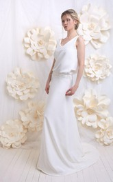 simple V-neck Sleeveless Sheath Wedding Dress With Jeweled Waist And Deep-V Back