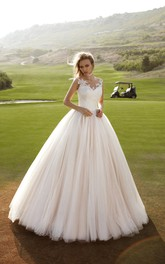V-Neckline Appliqued Ball-Gown Princess Tulle Back Dress