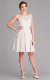 Bateau Cap-sleeve short Chiffon Wedding Dress With Lace