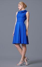 Modest Style High Neck Empire Chiffon Short Dress With Bandage