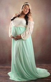 A-line Off-the-shoulder Pleated Ruched Long Sleeve Chapel Train Chiffon Lace Maternity Dress