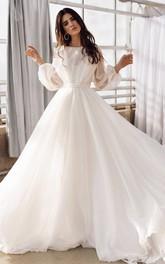 A Line Bateau Chiffon Floor-length Sweep Train Long Sleeve Open Back Cross Back Wedding Dress
