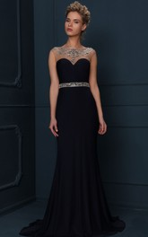 Bateau Sleeveless Sheath Prom Dress With Beading And Illusion