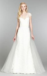 Lace Detachable Tulle Train V-Neckline Demure Gown