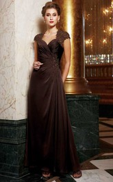 Queen Anne side-ruched Lace Mother of the Bride Dress With Illusion back