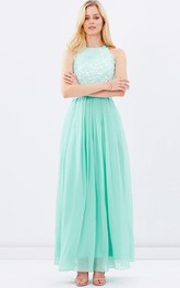 Jewel-Neck Sleeveless Chiffon Ankle-length Dress With Appliques