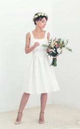 simple Strapped Satin A-line Backless Dress With bow