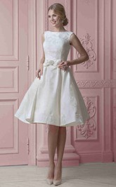 adorable Beading Sleeveless short Dress With bow And Corset Back