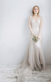 Illusion Rhinestone Wedding V-Neckline Long-Sleeve Tulle Gown