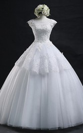 Jewel Lace Tulle Cap Short Sleeve Wedding Dress