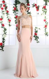 Column Beaded Jewel-Neck Sleeveless Illusion Jersey Dress