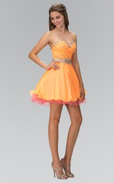 Muti-Color A-Line Mini Sweetheart Sleeveless Dress With Beading And Ruffles