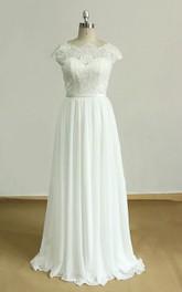 Lace Sash Ribbon Backless Cap-Sleeve Dress
