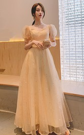 Square V-neck Queen Anne Tulle Floor-length Evening Formal Dress With Beading